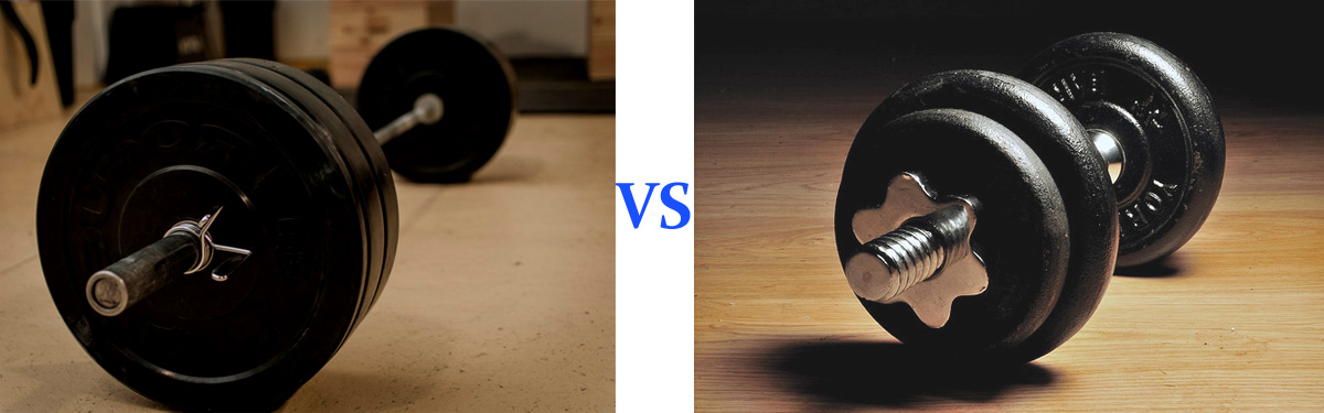 dumbbell vs barbell bench