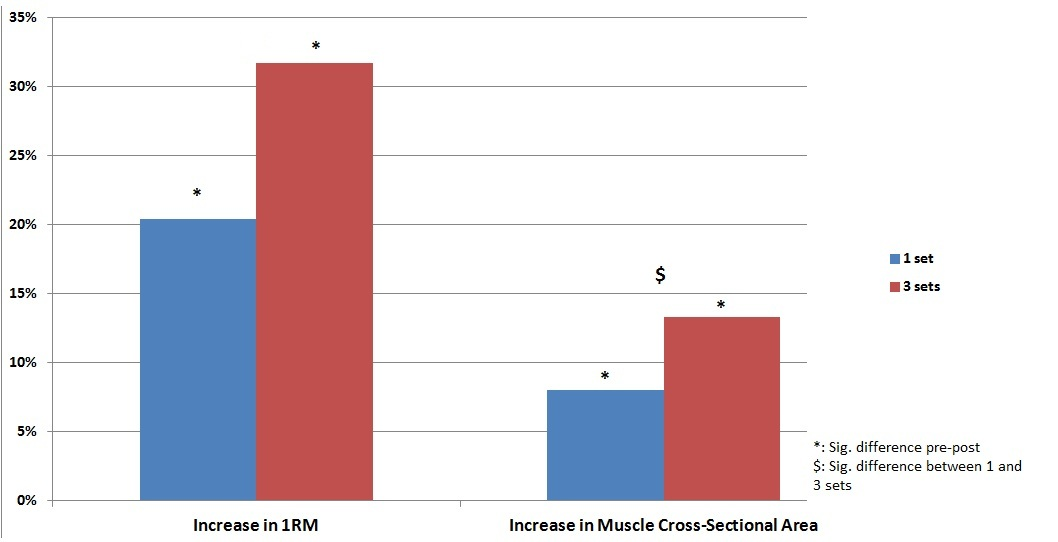 Effect of training volume on strength and muscle size